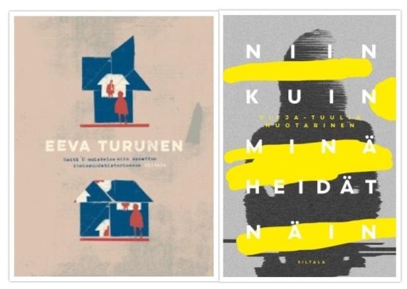 Eeva Turusen Neiti U muistelee niin sanottua ihmissuhdehistoriaansa ja Vilja-Tuulia Huotarisen Niin kuin minä heidät näin kirjan kannet vierekkäin